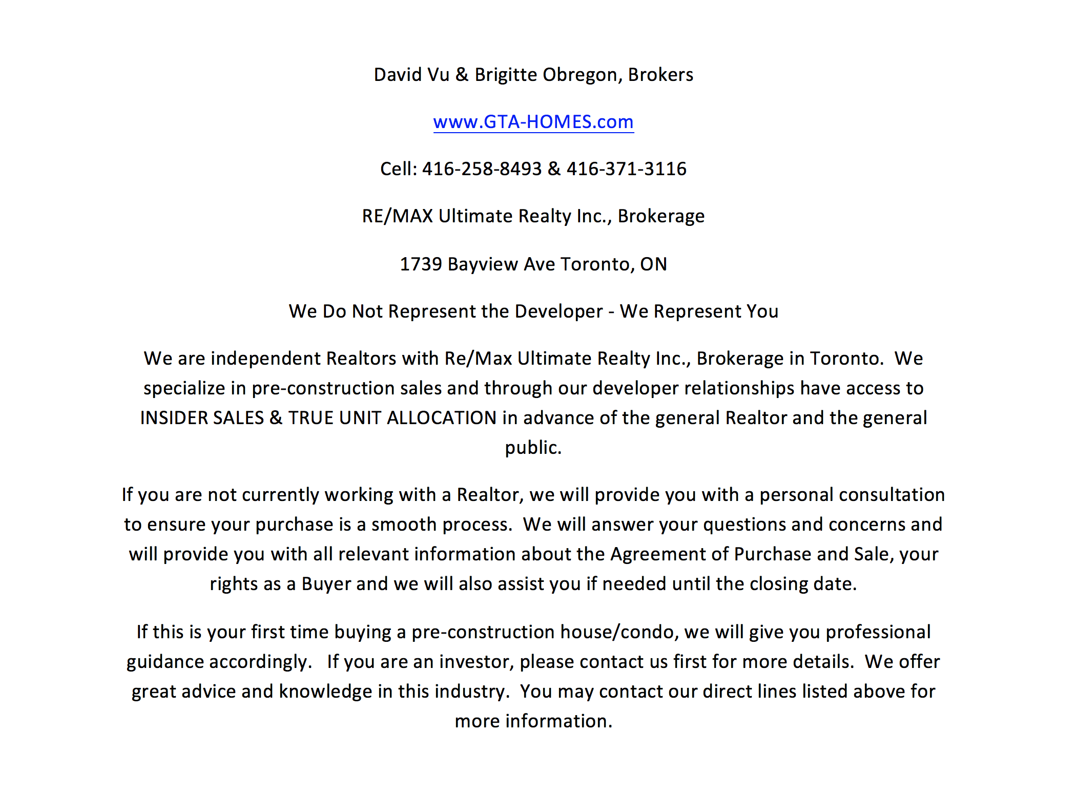 High-Rise Sales Contact Info